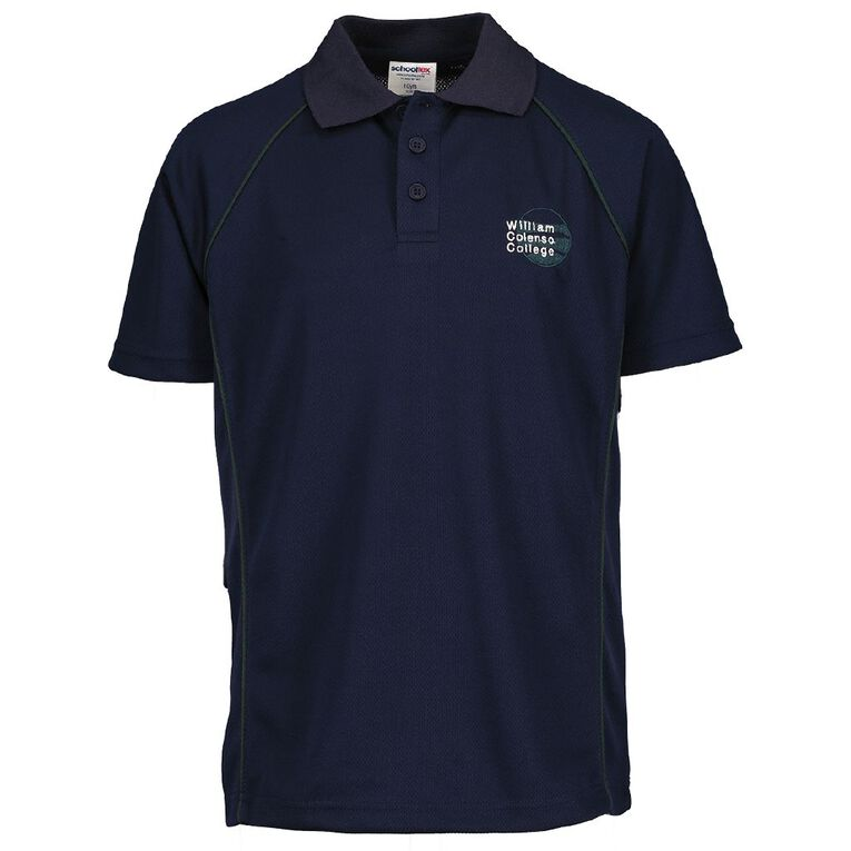 Schooltex William Colenso College Short Sleeve Polo with Embroidery, Navy, hi-res