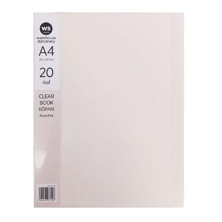WS Clear Book 20 Leaf Pastel Pink A4, , hi-res