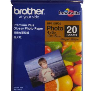 Brother Photo Paper BP71Gp20 Glossy 260gsm 6 x 4 20 Pack