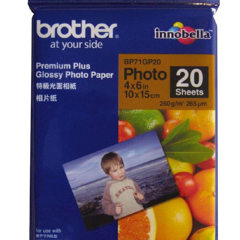 Brother Photo Paper BP71Gp20 Glossy 260gsm 6 x 4 20 Pack, , hi-res