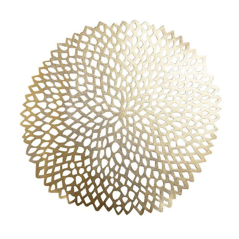 Living & Co PVC Placemat Flora Gold 35cm, , hi-res