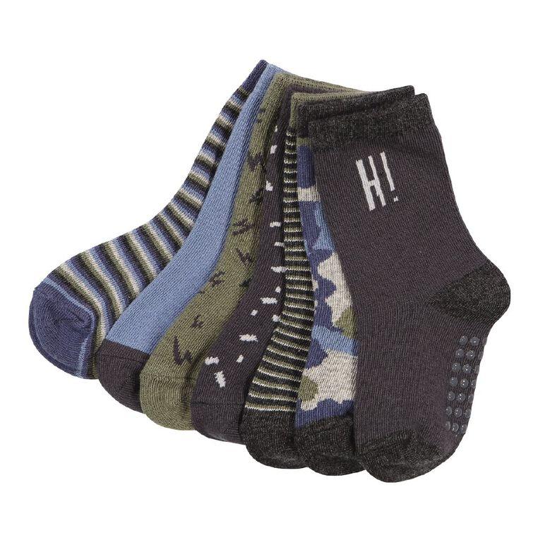 H&H Jacquard Crew Socks 7 Pack, Charcoal, hi-res
