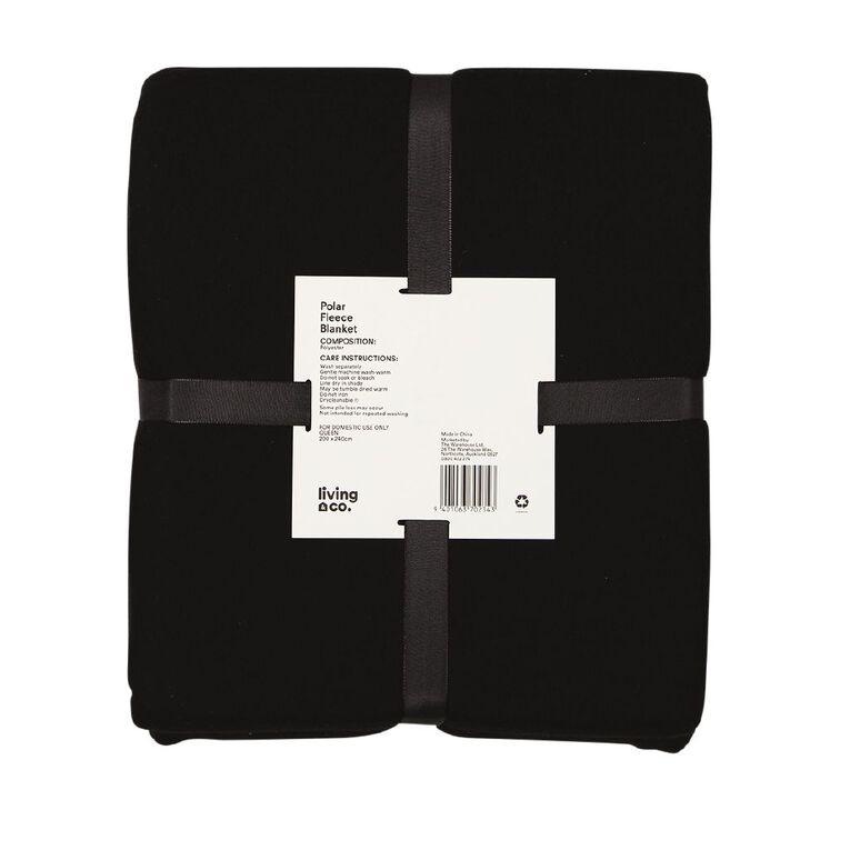 Living & Co Blanket Polar Fleece Black Queen, , hi-res