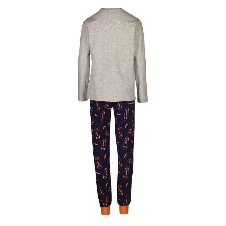 H&H Boy's Long Sleeves Pyjamas, Grey Marle, hi-res