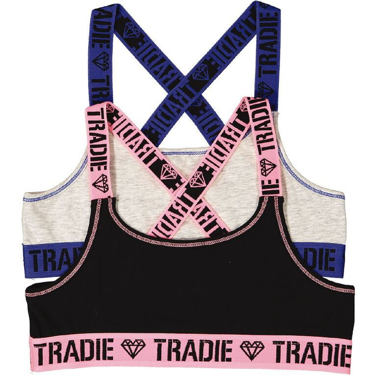 Tradie Girls' Cross Back Crop 2 Pack, Black, hi-res