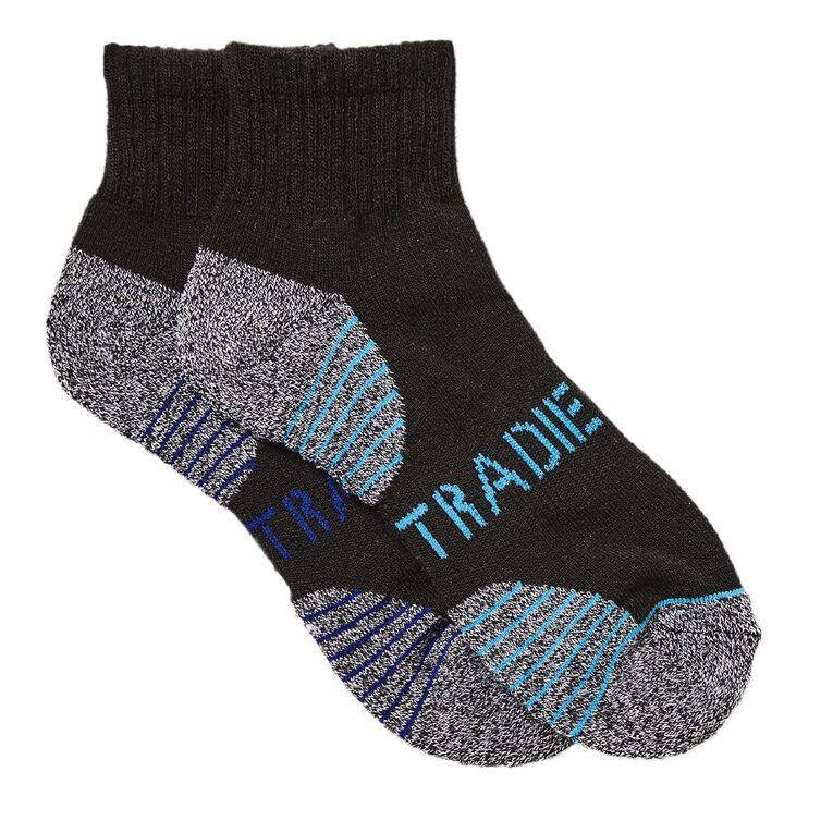 Tradie Boys' Quarter Crew Sport Socks 2 Pack, Black, hi-res