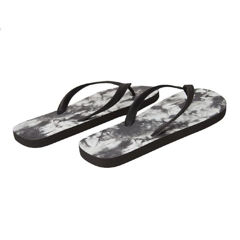 H&H 2 Pack Jandals, Black/White, hi-res
