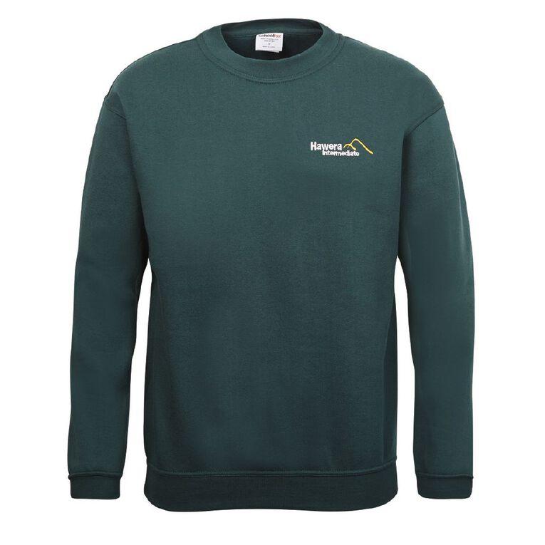 Schooltex Hawera Intermediate Sweatshirt with Embroidery, Bottle Green, hi-res