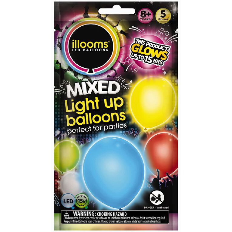 Illooms Light Up Balloons Multi-Coloured 5 Pack, , hi-res