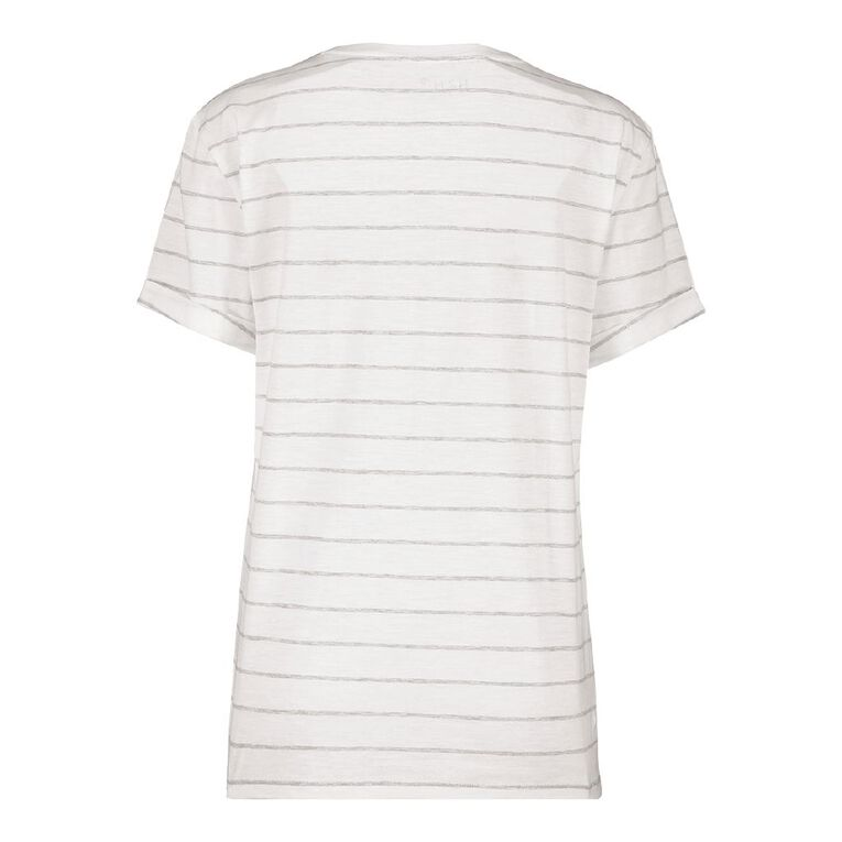 H&H Women's Oversized Roll Sleeve Tee, White/Silver, hi-res