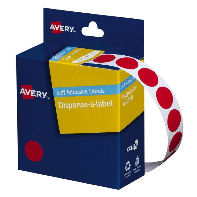 Avery Red Dispenser Dot Stickers 14mm diameter 1050 Labels, , hi-res