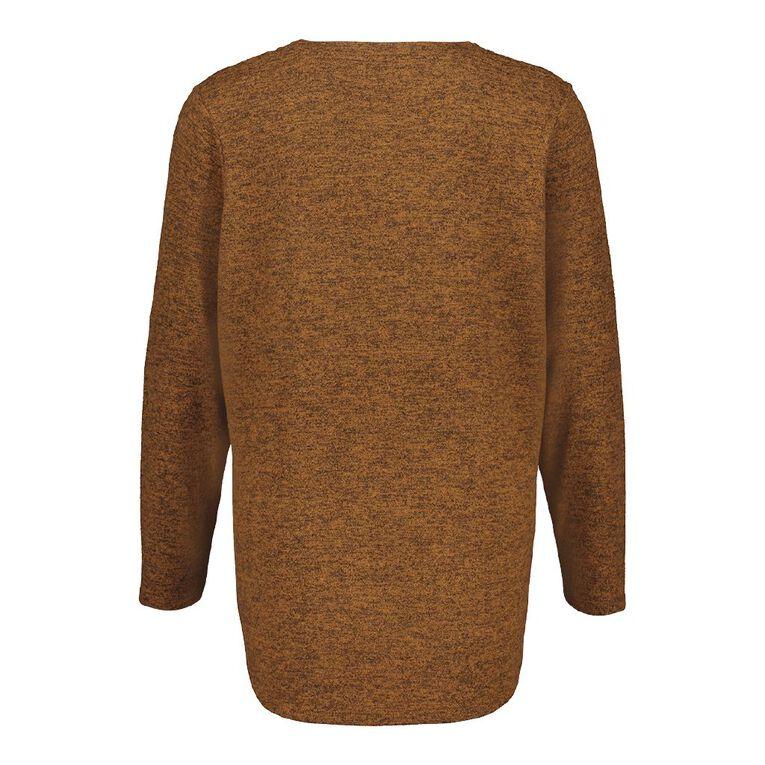 H&H Plus Women's Brushed Knit V Neck Top, Brown Mid, hi-res