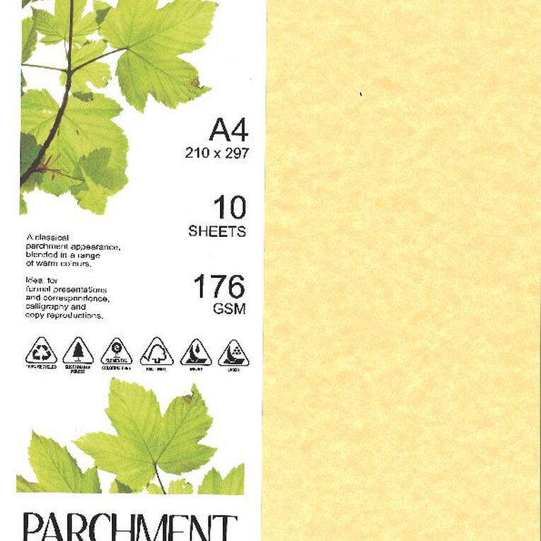 Direct Paper Parchment Card 176gsm 10 Pack Saturn Gold A4, , hi-res