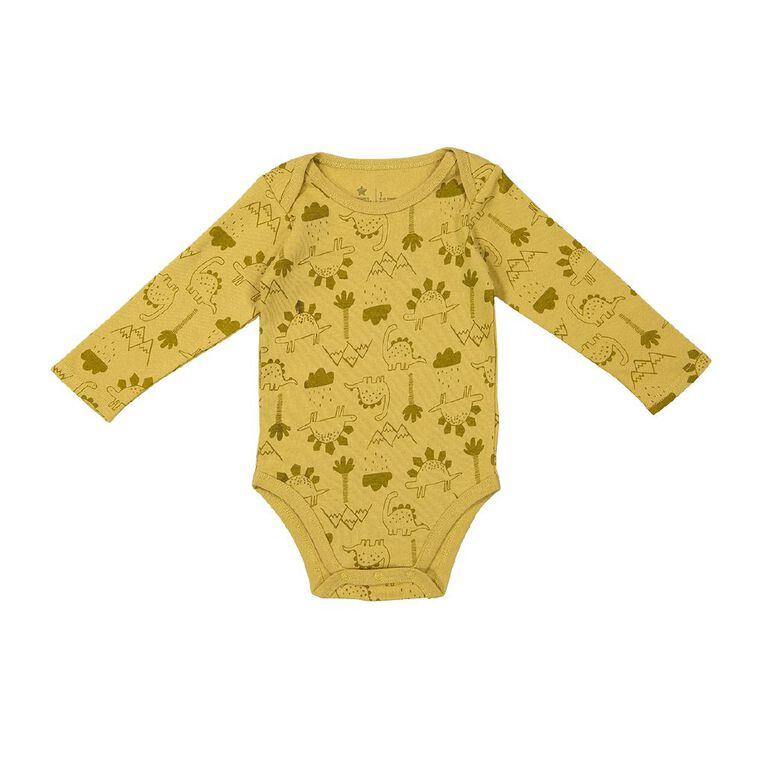 Young Original Baby 3 Pack Long Sleeve Printed Bodysuits, White, hi-res