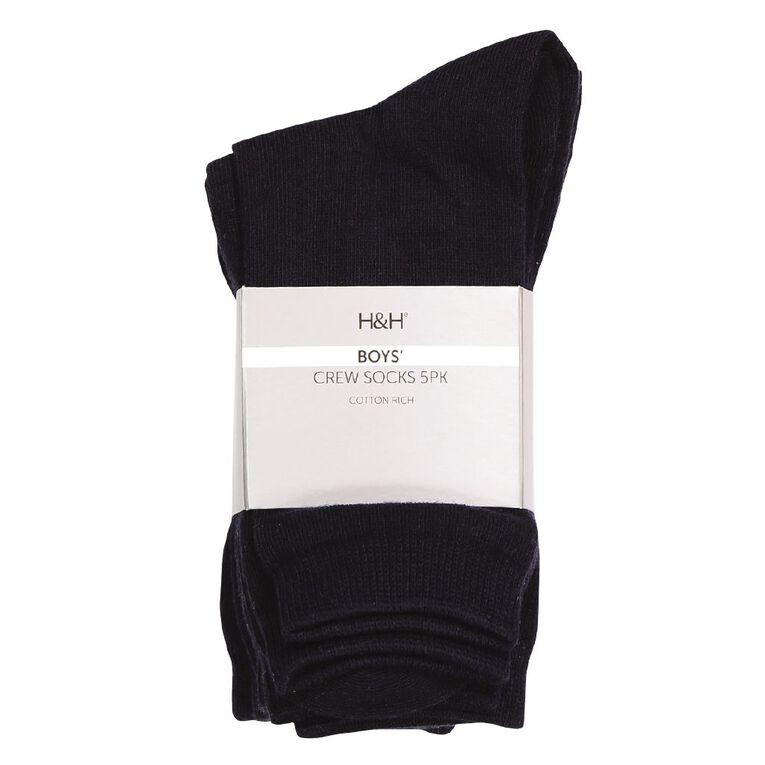 H&H Essential Plain Crew Socks 5 Pack, Navy, hi-res