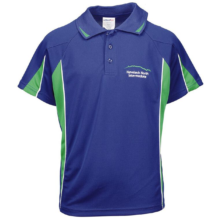 Schooltex Havelock North Intermediate Splice Polo with Embroidery, Royal, hi-res