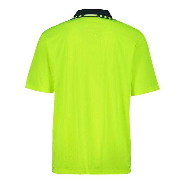 Rivet Short Sleeve Fluoro Compliant Polo, Yellow, hi-res