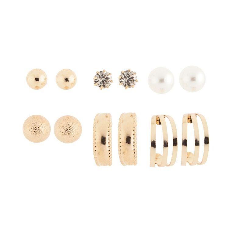 Basics Brand Diamante Pearl Ball Gold Earrings 6 Pairs, Gold, hi-res