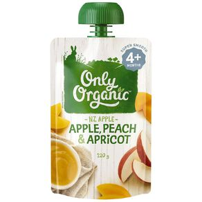 Only Organic Apple Peach & Apricot Pouch 120g