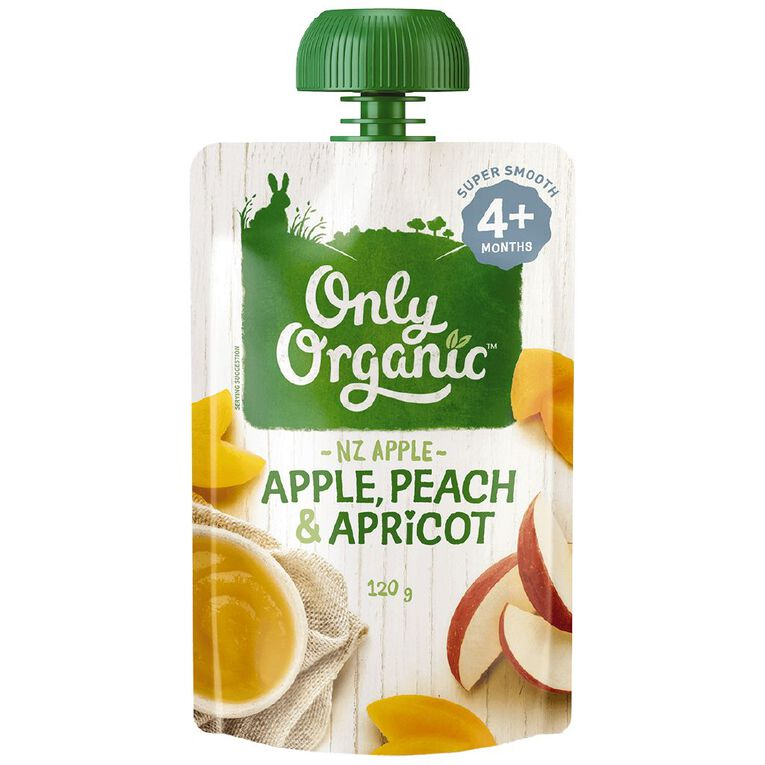 Only Organic Apple Peach & Apricot Pouch 120g, , hi-res