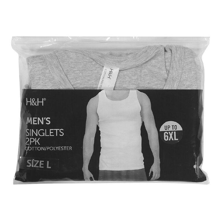 H&H Men's Singlets 2 Pack, Grey Marle, hi-res