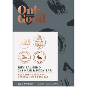 Only Good Body Bar Soap Revitalising Sage Mint and Argan Oil 80g