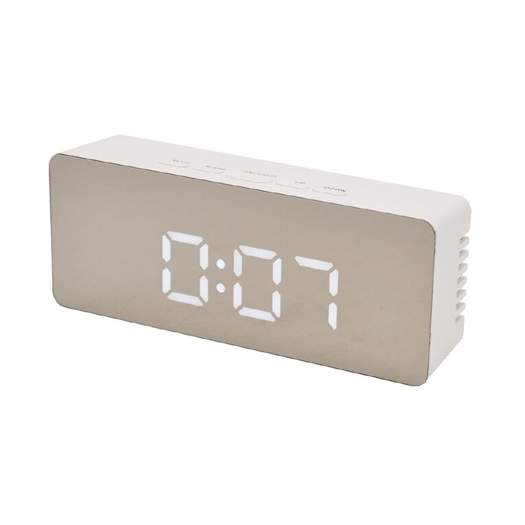 Living & Co Digital Mirrored Alarm Clock 13.3 x 7.3cm Silver, , hi-res