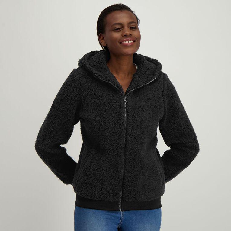 H&H Women's Sherpa Teddy Zip Thru Sweatshirt, Black, hi-res