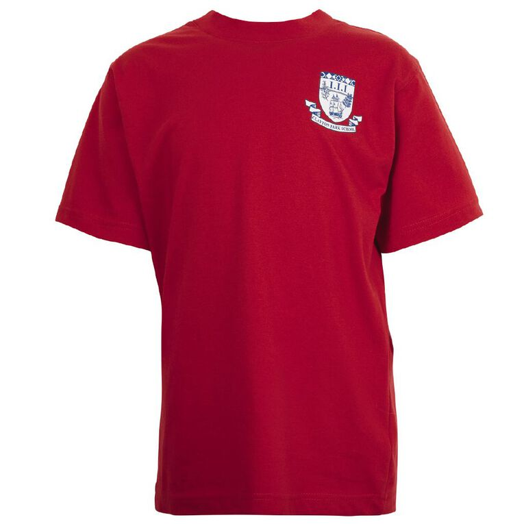 Schooltex Clayton Park Tee with Screenprint, Red, hi-res