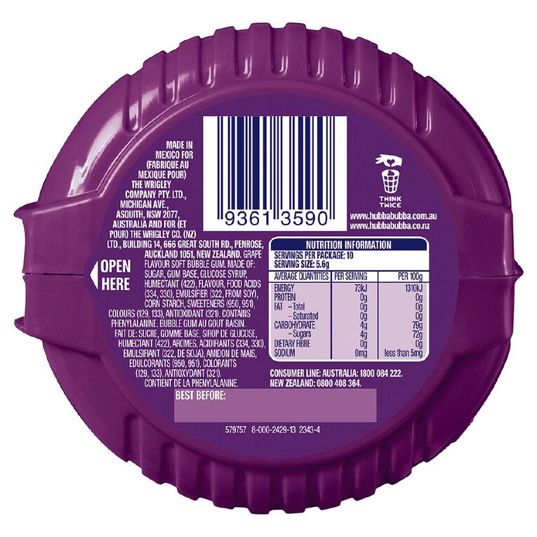 Hubba Bubba Groovy Grape Bubble Gum Tape 180cm, , hi-res