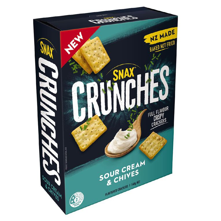 Snax Crunches Sour Cream Chives 160g, , hi-res