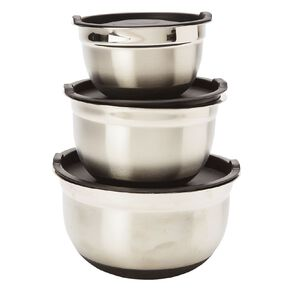 Living & Co Stainless Steel Mixing Bowls with Lids 3 Piece