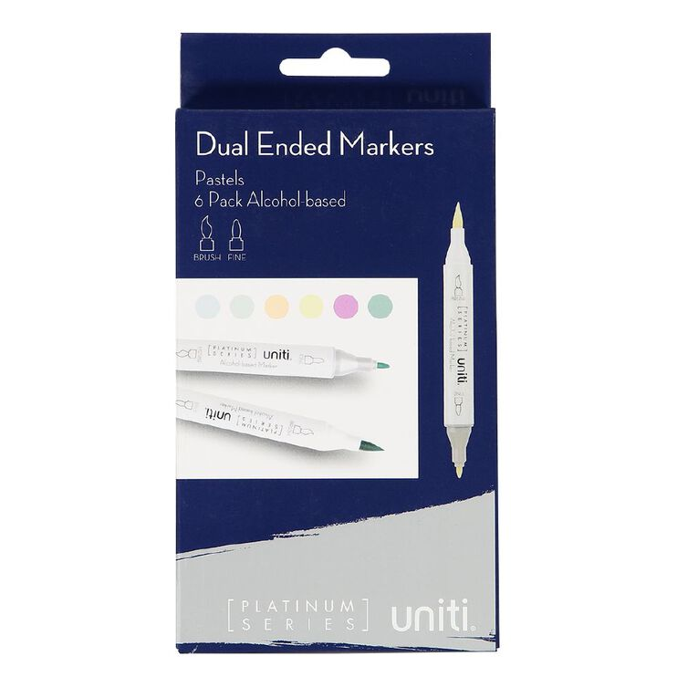 Uniti Dual Ended Markers Pastels 6 Pack, , hi-res