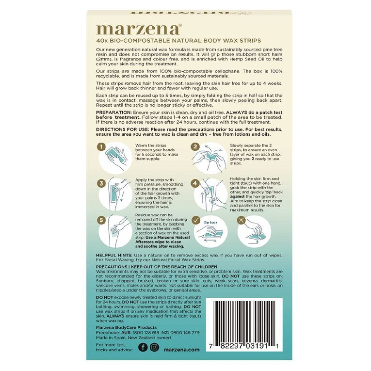 Marzena Bodycare Natural Body Wax Strips 40 Pack, , hi-res