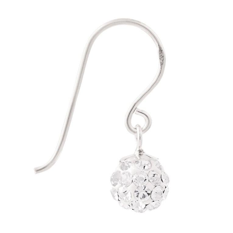 Sterling Silver White Crystal Drop Earrings 6mm, , hi-res