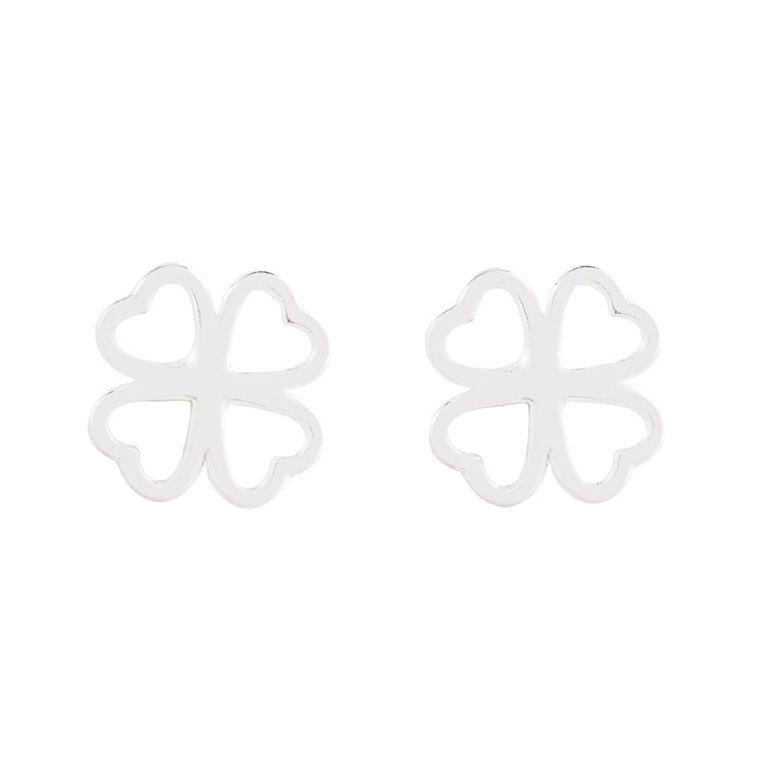 Sterling Silver Clover Stud Earring, , hi-res
