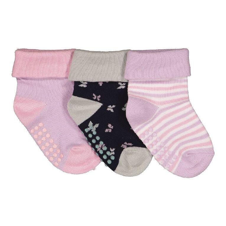 H&H Infant Girls' Bootie Socks 3 Pack, Purple Light, hi-res