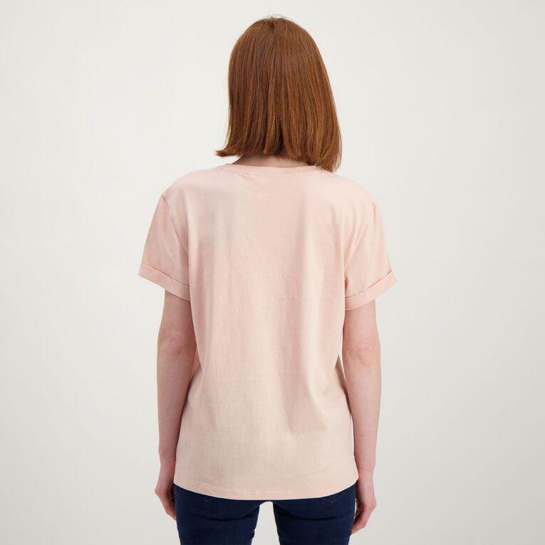 H&H Women's Printed Cuff Detail Tee, Pink Light, hi-res