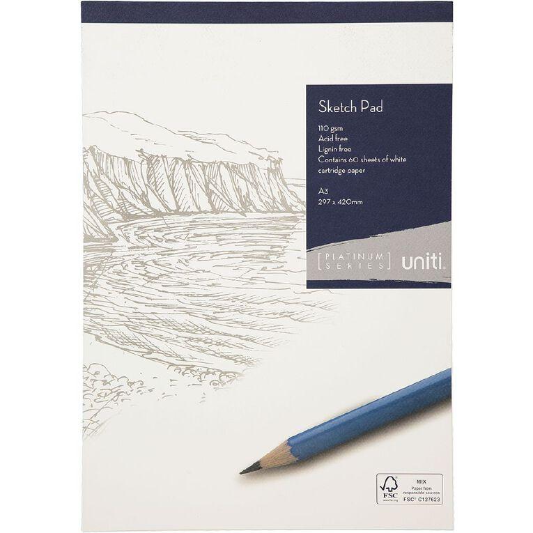 Uniti Platinum Sketch Pad 110gsm A3 60 sheets, , hi-res