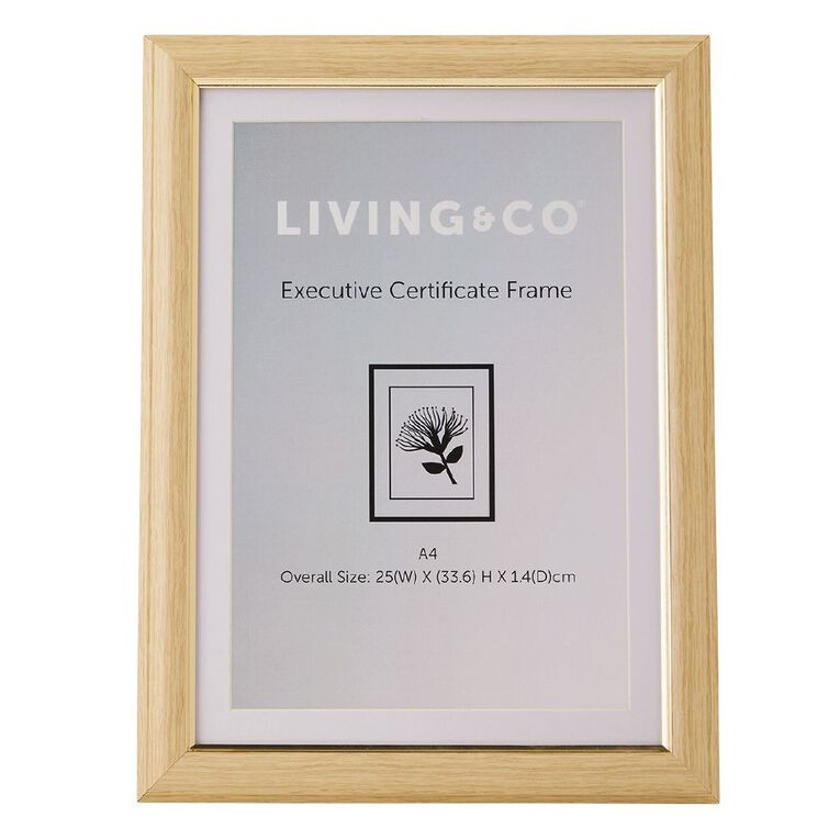 Living & Co Executive Certificate Frame Natural A4, Natural, hi-res