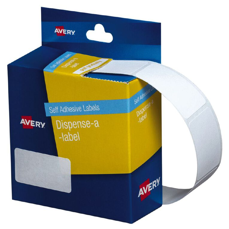 Avery White Rectangle Dispenser Stickers 36x19mm 450 Labels Handwritable, , hi-res