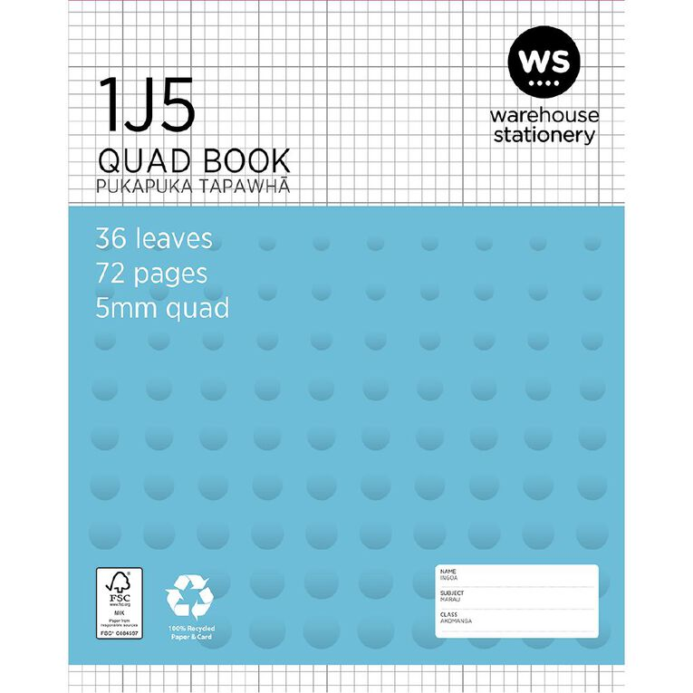 WS Exercise Book 1J5 5mm Quad 36 Leaf Blue, , hi-res