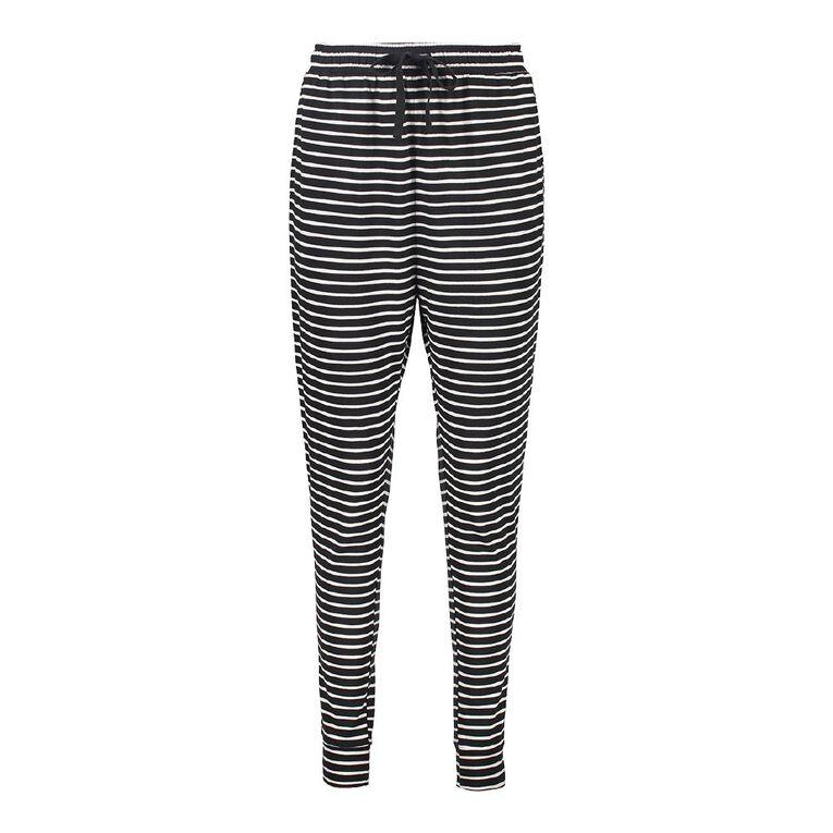 H&H Women's Panel Harem Pants, Black/White, hi-res