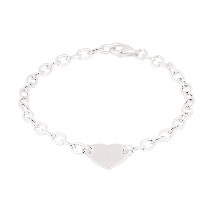 Sterling Silver Flat Heart Bracelet, , hi-res