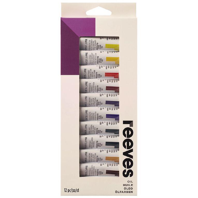 Reeves Oil Paint Set 12 Tubes Multi-Coloured, , hi-res
