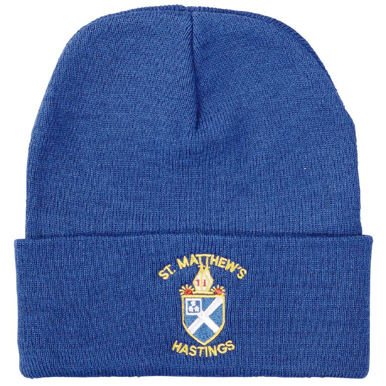 Schooltex St Matthew's Hastings Beanie with Embroidery, Royal, hi-res