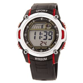 Active Intent Men's Sports Digital Watch Black Red