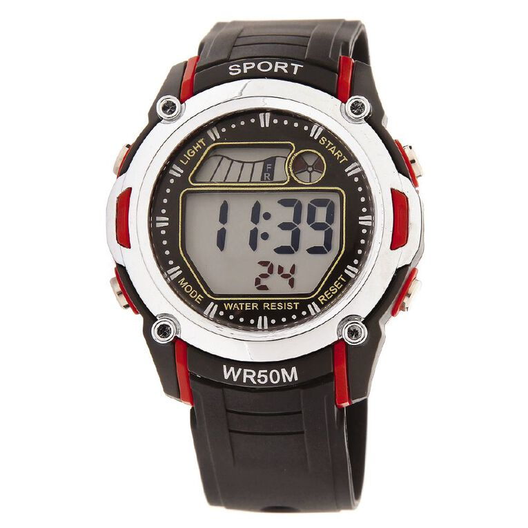 Active Intent Men's Sports Digital Watch Black Red, , hi-res