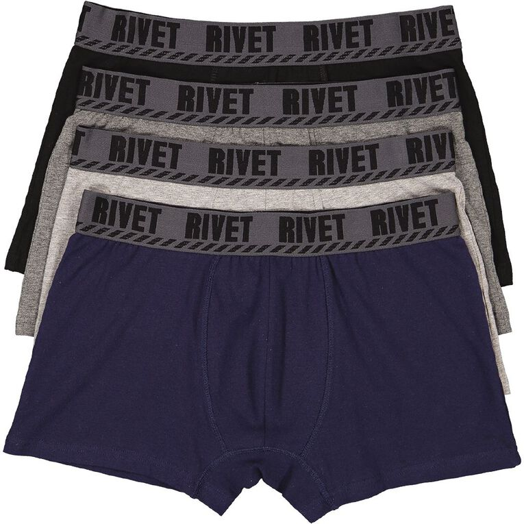 Rivet Men's Trunks 4 Pack, Grey, hi-res
