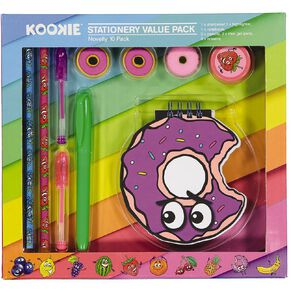 Kookie Novelty Stationery Set Scented 10 Piece Multi-Coloured